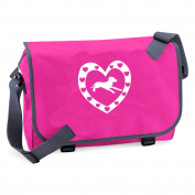 School or College messenger bag with Glitter print dog and heart design