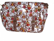 White satchel bag messenger bag shoulder bag school bag Owl pattern