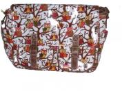 White satchel bag messenger bag shoulder bag school bag Owl pattern
