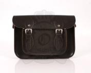 28cm Chocolate Brown Leather Leather Oxbridge Satchel - Magnetic Clasp - Classic Retro Fashion laptop / school bag