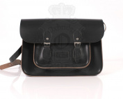 38cm Charcoal Black Leather Leather Oxbridge Satchel - Magnetic Clasp - Classic Retro Fashion laptop / school bag