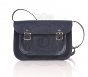28cm Navy English Satchel - Classic Retro Fashion laptop / school bag