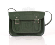 28cm Dark Green English Satchel - Classic Retro Fashion laptop / school bag