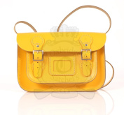 28cm Yellow English Satchel - Classic Retro Fashion laptop / school bag
