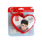 1D One Direction Plush Heart Backpack Clip On