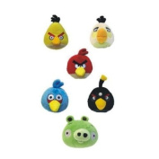 Set of 6- 15cm Angry Birds Soft Plush Toys- red,blue,white, black,green and yellow