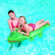 170cm x 80cm Green Kids Inflatable Crocodile Rider Swimming Pool Beach Ride On Toy
