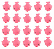 Viskey 20pcs Pink Dolphin Baby Bath Tub Bathing Rubber Squeaky Toys