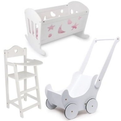 Dolls White Varnished Wooden Set Cradle Cot Bed High Chair And Pram Girl