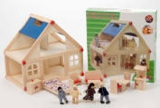 Children's Toy Wooden Doll House With Furniture Figures