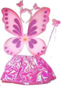 Girls Fairy Princess Angel Dress Up Set Fancy Dress Costume Outfit Wings