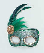 Green Sequin Side Feather Masquerade Eye Mask