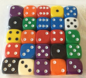Dice - 25 x 16mm 6 sided spot dice - mixed colours