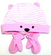 RJM Kids Striped Bear Beanie With Ears & Mittens Set - Available in Blue or Pink and 1-2 years or 2-4 years