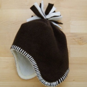 Tuppence and Crumble soft fleece Baby Tassel Hat Chocolate 0-3 months