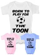 Born To Play For Toon ~ Newcastle Utd~Funny Babygrow~Babies Gift Boy/Girl Vest