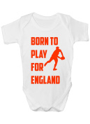Born To Play For England Rugby Funny Babygrow~Babies Gift Boy/Girl Vest/Babies