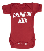 Baby Buddha - Drunk On Milk Baby Babygrow 100% Cotton Sizes 0M Upto 12M in 5 Colours