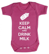 Baby Buddha - Keep Calm And Drink Milk Baby Babygrow 100% Cotton Sizes 0M Upto 12M in 5 Colours