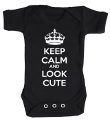 Baby Buddha - Keep Calm And Look Cute Baby Babygrow 100% Cotton Sizes 0M Upto 12M in 5 Colours