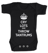 Baby Buddha - Cry Lots And Throw Tantrums Baby Babygrow 100% Cotton Sizes 0M Upto 12M in 5 Colours