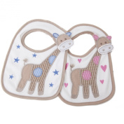 Baby Embroidered Giraffe Design hook and loop Bib (One Size)