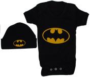 Bat Baby Bodysuit & Beenie Hat Set Batman - 0 - 3 Months - Black