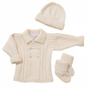 Sue Hill Double Breasted Jacket, Hat and Bootees set cream 6-12mths