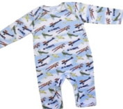 Powell Craft 100% Cotton Vintage Aeroplane Spitfire Design Jumpsuit Long Sleeve Baby Boys Romper - Great for a new baby gift