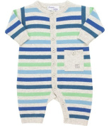 Bonnie Baby Blues and Grey Soft Striped Cashmere Playsuit, Sleepsuits and Playsuits, Baby boy, 0-3 months