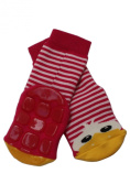 Weri Spezials High ABS Terry Socks. Design:Cheerful Duckling, Red