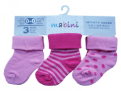 Pack of 6 : MABINI® Baby / Infants' Cotton Rich Socks (Turn Over Top Design) In Cute Bright Assorted Colours & Designs