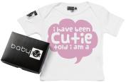 Baby Buddha - Cutie Baby Designer T-Shirt Organic Cotton Sizes 0M to 18M Baby Gift White or Black in Gift Box