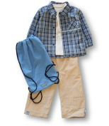 Vanilla Park Lined Cheque Shirt, Top and Lined Canvas Trousers, Trouser Sets, Boys, 2-3 years