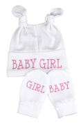 Baby Girl Knot Hat & Scratch Mits Baby Set
