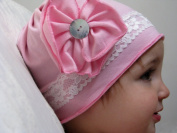 Top Baby Beautiful Girls Handmade Cotton Hats With Flowers And Button Details