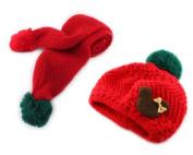 Bear Baby Boy Girl Kids Children Earmuff Knitting Hat Cap W neckerchief Scarf Red
