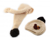 Bear Baby Boy Girl Kids Children Earmuff Knitting Hat Cap W neckerchief Scarf Cream colour