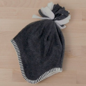 Tuppence and Crumble soft fleece Baby Tassle Hat Charcoal 0-3 months