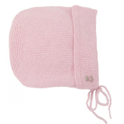 Sue Hill Hand knitted Cashmere Roses Bonnet pink with hand embroidered pink roses 6-12mths