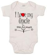 IiE, I love my Uncle this much, Baby Unisex Boy Girl, Bodysuit, 3-6m, White