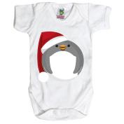 White Baby 6-12 Months Santa Penguin Baby Grow