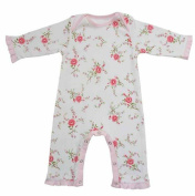 Powell Craft Rose Floral Baby Girls Jumpsuit, 100% Cotton Romper - 6-12 Months