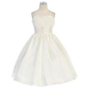 Sweet Kids Ivory Sequin Mesh Organza Christmas Flower Girl Dress 6M-12