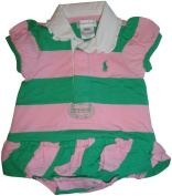 Ralph Lauren Polo Infant Girl's Short Sleeve Dress Pink and Green Stripes