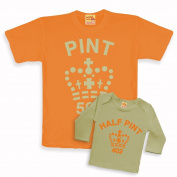 Father And Child Pint & Half Pint Matching Tops Orange And Cream (Adult Medium