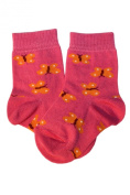 Weri Spezials Baby Socks, Butterflies, Yellow/Pink, Quality merc.Cotton