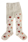 "Weri Spezials Baby and Children Tights, White, ""Flowers"""