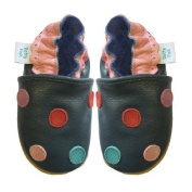 Dotty Fish Soft Leather Baby Shoes with Suede Soles. Navy Multi Coloured Spotty design