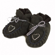 Brubaker Baby Sheepskin Moccasins Love Heart Embroidery Fur Lined in Black or Brown Size 0-24 months